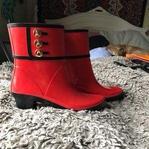 kate spade new york red heeled rain boots